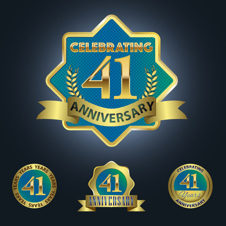 Celebrating 41 Years Anniversary - Blue seal with golden ribbon 일러스트