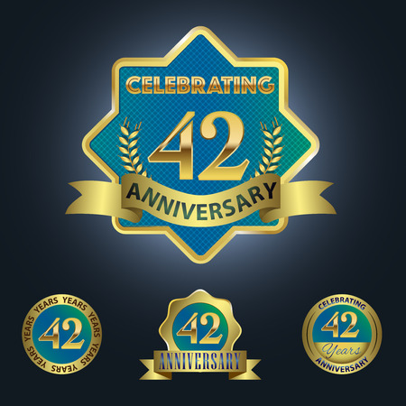 Celebrating 42 Years Anniversary - Blue seal with golden ribbon 일러스트
