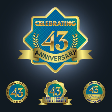 Celebrating 43 Years Anniversary - Blue seal with golden ribbon