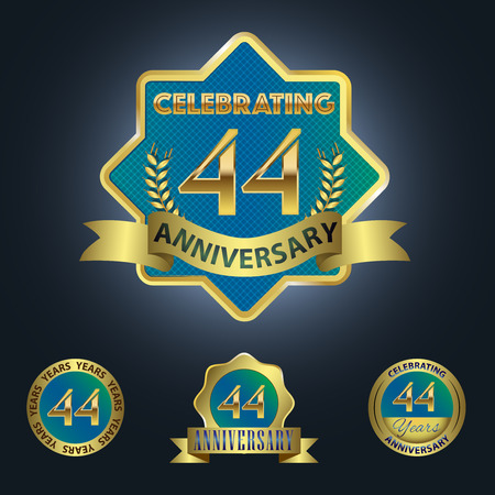 Celebrating 44 Years Anniversary - Blue seal with golden ribbon 일러스트