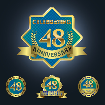 48: Celebrating 48 Years Anniversary - Blue seal with golden ribbon Illustration