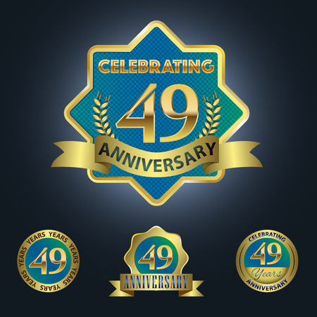 ninth birthday: Celebrating 49 Years Anniversary - Blue seal with golden ribbon