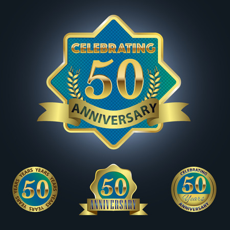 the fiftieth: Celebrating 50 Years Anniversary - Blue seal with golden ribbon