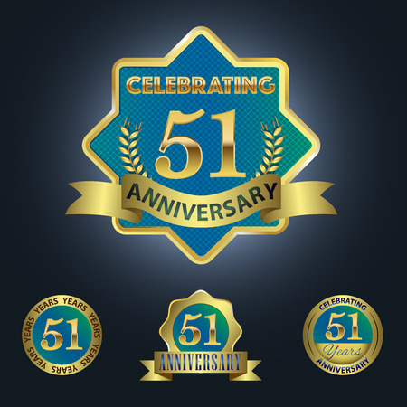 Celebrating 51 Years Anniversary - Blue seal with golden ribbon 일러스트