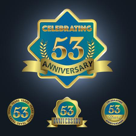 third birthday: Celebrating 53 Years Anniversary - Blue seal with golden ribbon