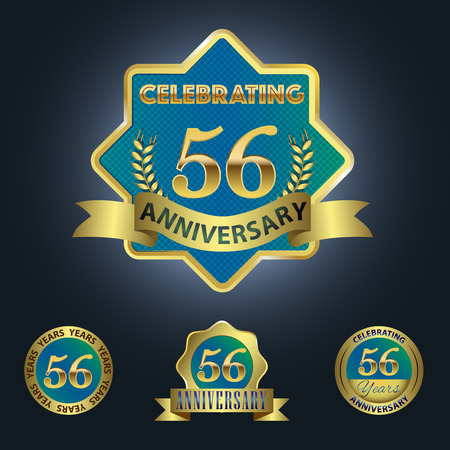 sixth birthday: Celebrating 56 Years Anniversary - Blue seal with golden ribbon