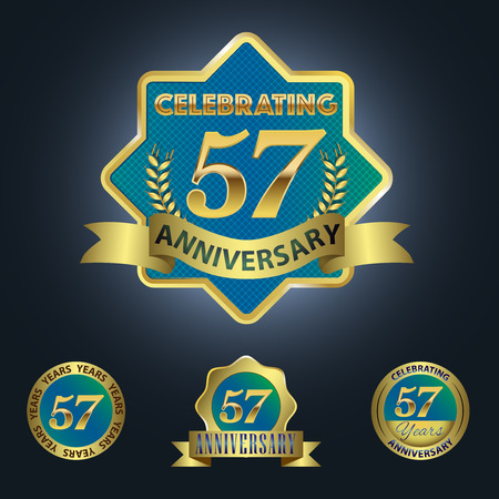 57: Celebrating 57 Years Anniversary - Blue seal with golden ribbon