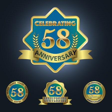 Celebrating 58 Years Anniversary - Blue seal with golden ribbon 일러스트