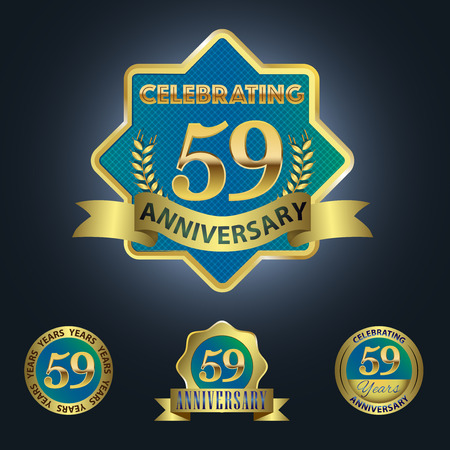 Celebrating 59 Years Anniversary - Blue seal with golden ribbon 일러스트