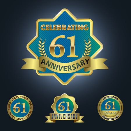 Celebrating 61 Years Anniversary - Blue seal with golden ribbon
