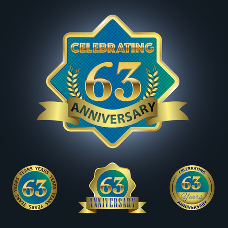 third birthday: Celebrating 63 Years Anniversary - Blue seal with golden ribbon Illustration