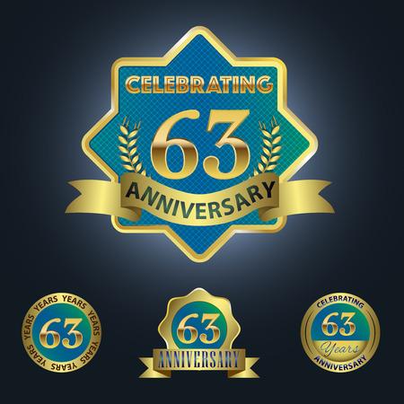 third birthday: Celebrating 63 Years Anniversary - Blue seal with golden ribbon Illustration