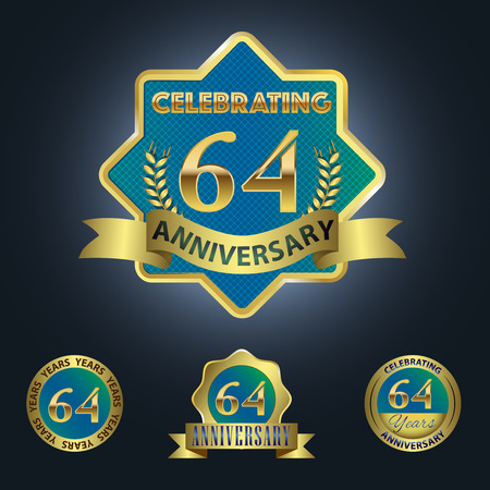 Celebrating 64 Years Anniversary - Blue seal with golden ribbon