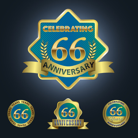 Celebrating 66 Years Anniversary - Blue seal with golden ribbon 일러스트