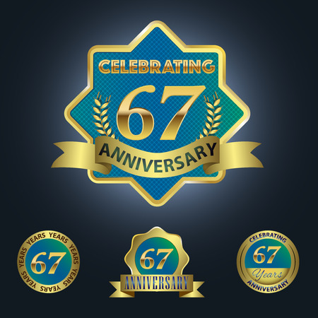Celebrating 67 Years Anniversary - Blue seal with golden ribbon