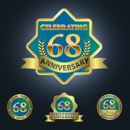 Celebrating 68 Years Anniversary - Blue seal with golden ribbon 일러스트