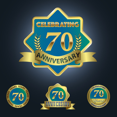 Celebrating 70 Years Anniversary - Blue seal with golden ribbon 일러스트