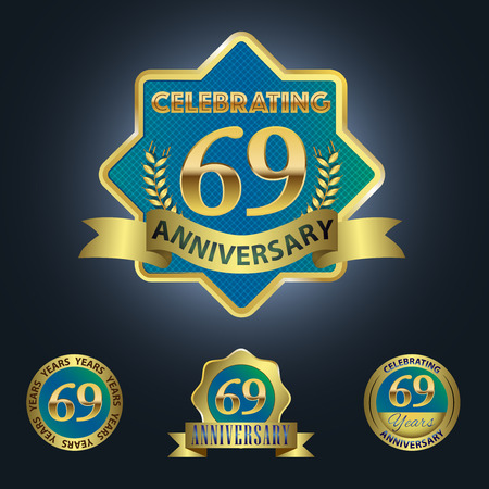 ninth birthday: Celebrating 69 Years Anniversary - Blue seal with golden ribbon