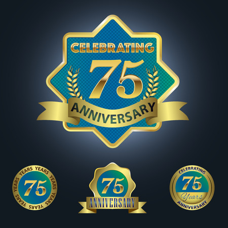 Celebrating 75 Years Anniversary - Blue seal with golden ribbon