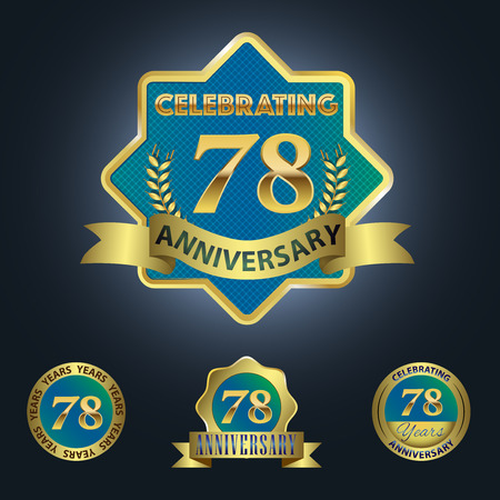 Celebrating 78 Years Anniversary - Blue seal with golden ribbon