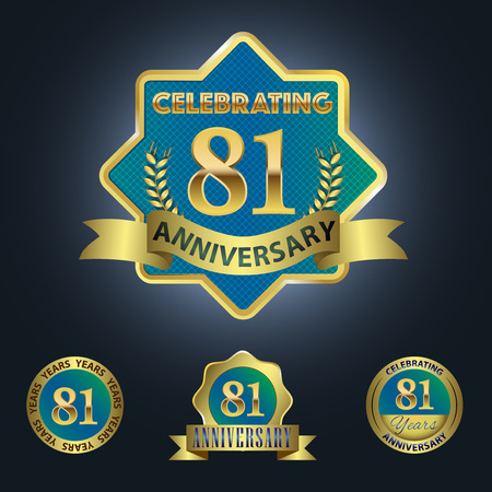 Celebrating 81 Years Anniversary - Blue seal with golden ribbon