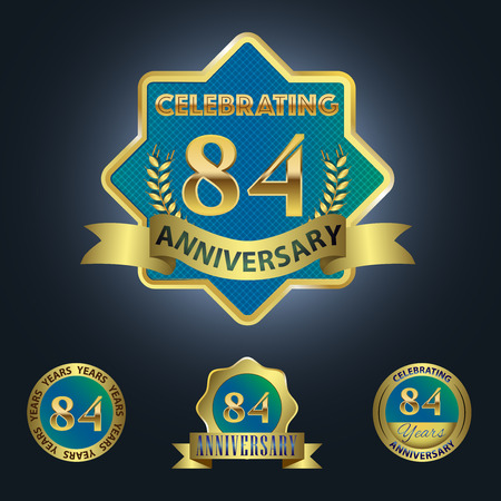 Celebrating 84 Years Anniversary - Blue seal with golden ribbon