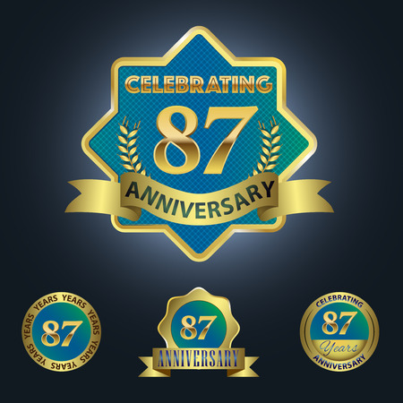 Celebrating 87 Years Anniversary - Blue seal with golden ribbon 일러스트