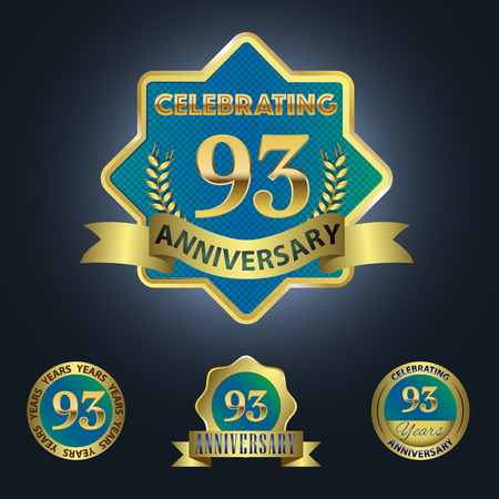 Celebrating 93 Years Anniversary - Blue seal with golden ribbon Vector