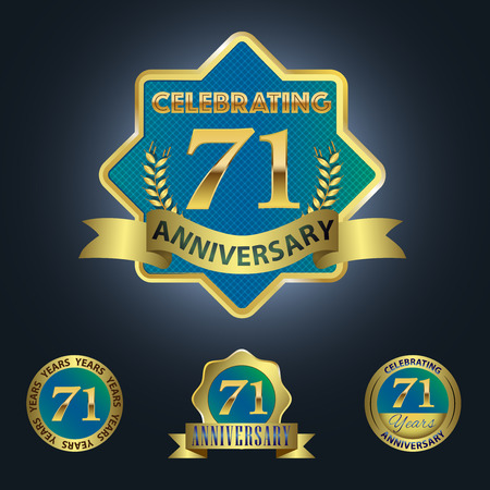 Celebrating 71 Years Anniversary - Blue seal with golden ribbon