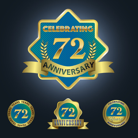 seventy two: Celebrating 72 Years Anniversary - Blue seal with golden ribbon