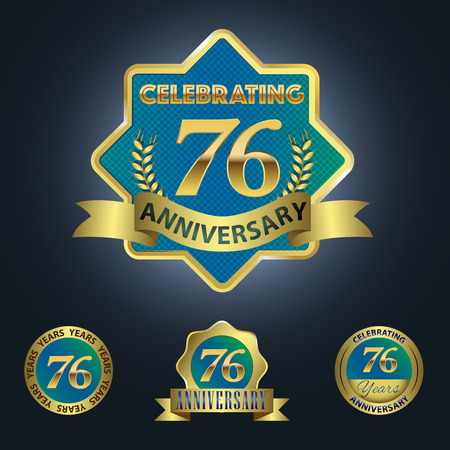 sixth birthday: Celebrating 76 Years Anniversary - Blue seal with golden ribbon