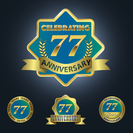 Celebrating 77 Years Anniversary - Blue seal with golden ribbon