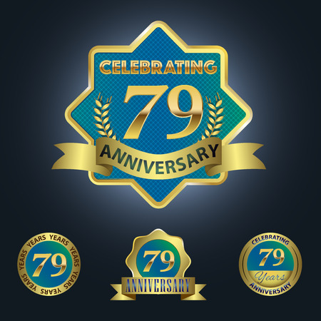 ninth birthday: Celebrating 79 Years Anniversary - Blue seal with golden ribbon