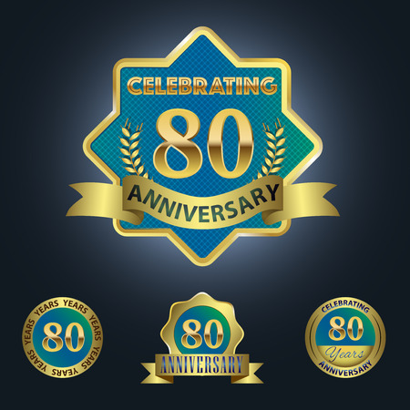 80 years: Celebrating 80 Years Anniversary - Blue seal with golden ribbon