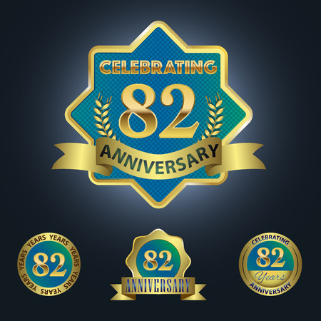 second birthday: Celebrating 82 Years Anniversary - Blue seal with golden ribbon