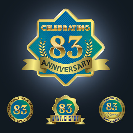 83rd: Celebrating 83 Years Anniversary - Blue seal with golden ribbon