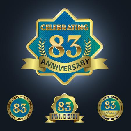 third birthday: Celebrating 83 Years Anniversary - Blue seal with golden ribbon