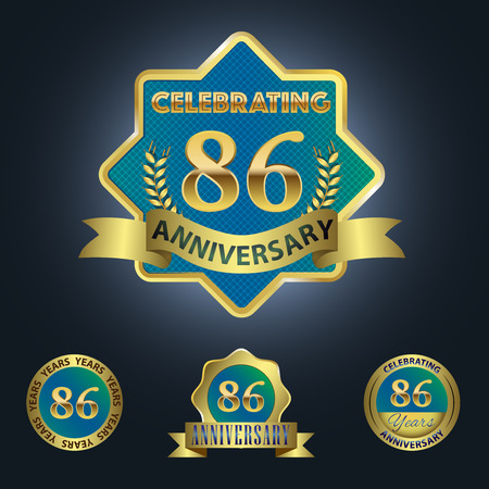 sixth birthday: Celebrating 86 Years Anniversary - Blue seal with golden ribbon