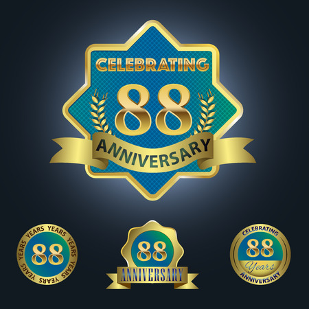 Celebrating 88 Years Anniversary - Blue seal with golden ribbon
