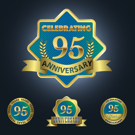 Celebrating 95 Years Anniversary - Blue seal with golden ribbon 일러스트