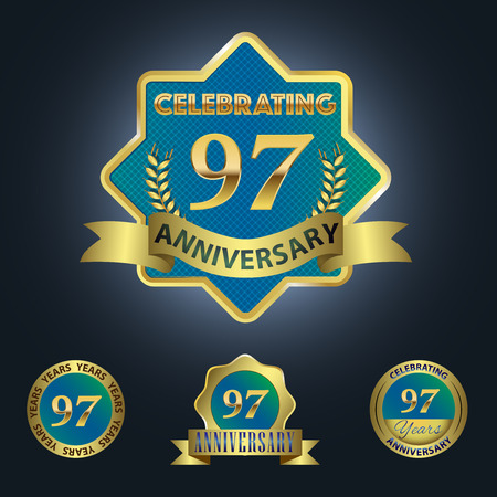 Celebrating 97 Years Anniversary - Blue seal with golden ribbon 일러스트