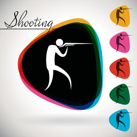 tiro al blanco: Evento deportivo icono  símbolo - el disparo. 1 multicolor y 5 locales de monótonas.