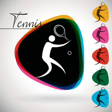eventing: Sports Event iconsymbol - Tennis. 1 Multicolor and 5 monotone options. Illustration