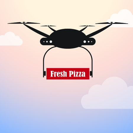 arial: Drone Delivery - Pizza