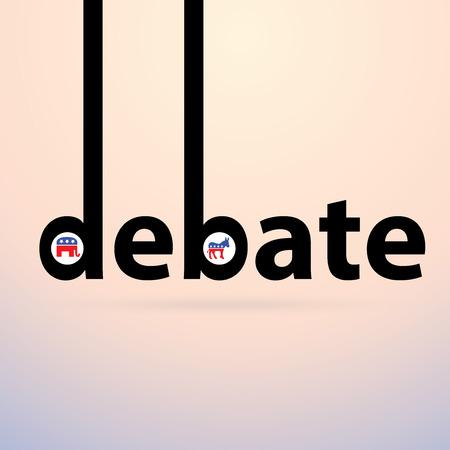 election debate: Debate - Typographical Concept for Republican versus Democrat Dialog. Election 2016
