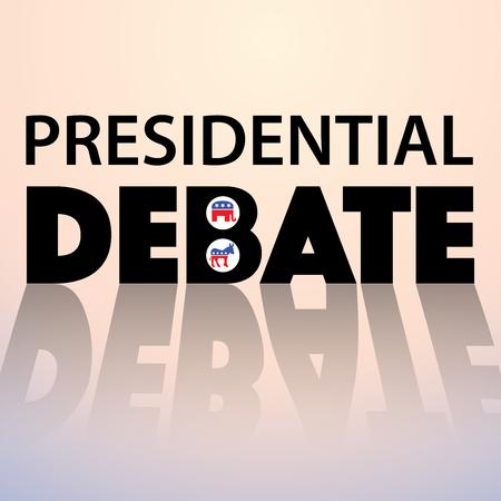 토론 - 민주당 대화 대 공화당에 대한 인쇄상의 개념입니다. 선거 2016 스톡 콘텐츠 - 48513133