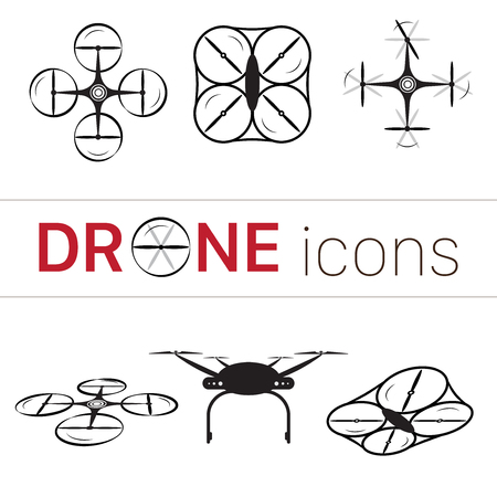 front loading: Quadcopter and flying drone icons