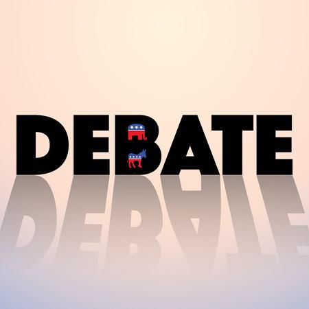 토론 - 민주당 대화 대 공화당에 대한 인쇄상의 개념입니다. 선거 2016 스톡 콘텐츠 - 48513135
