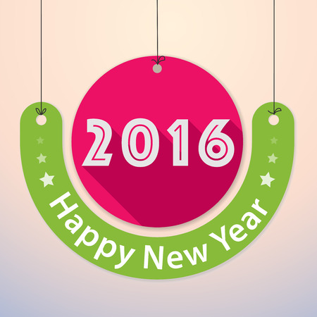 paper tag: Happy New Year 2016 - Colourful Paper Tag Design