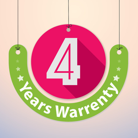 4 years Warranty Colorful Badge, Paper cut-out